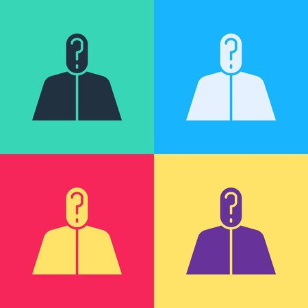 Pop art Anonymous man with question mark icon isolated on color background. Unknown user, incognito profile, business secrecy, obscurity.  Vector Illustration