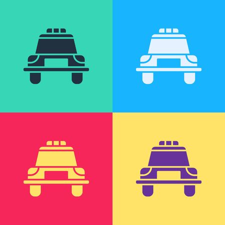 Pop art Police car and police flasher icon isolated on color background. Emergency flashing siren.  Vector Illustration Illustration