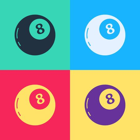 Pop art Magic ball of predictions for decision-making icon isolated on color background. Crystal ball. Vector Illustration