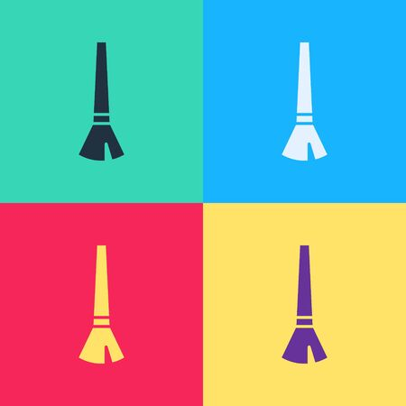 Pop art Paint brush icon isolated on color background.  Vector Illustration