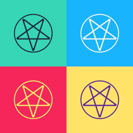 Pop art Pentagram in a circle icon isolated on color background. Magic occult star symbol.  Vector Illustration