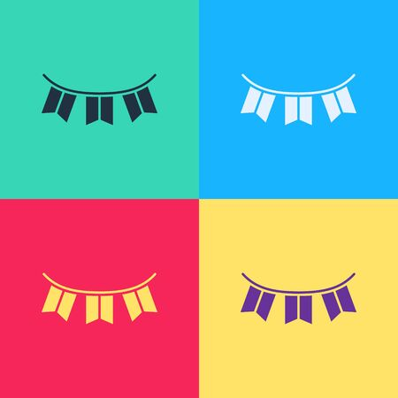 Pop art Carnival garland with flags icon isolated on color background. Party pennants for birthday celebration, festival decoration.  Vector Illustration
