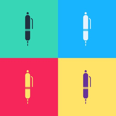 Pop art Pen icon isolated on color background.  Vector Illustration