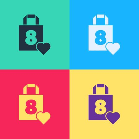 Pop art Shopping bag with heart icon isolated on color background. 8 March. International Happy Women Day.  Vector Illustration