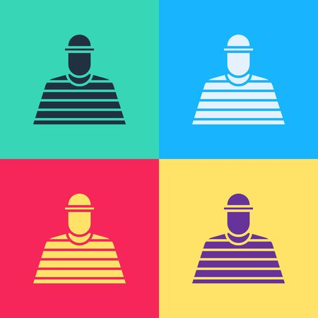 Pop art Prisoner icon isolated on color background.  Vector Illustration