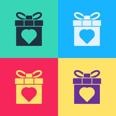 Pop art Gift box and heart icon isolated on color background. 8 March. International Happy Women Day.  Vector Illustration