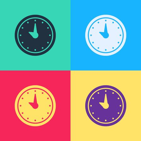 Pop art Clock icon isolated on color background. Time symbol.  Vector Illustration