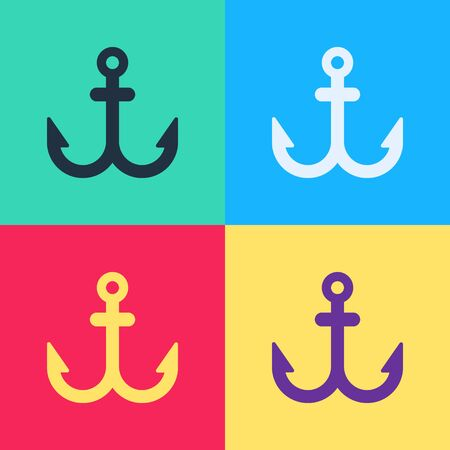 Pop art Anchor icon isolated on color background. Vector Illustration