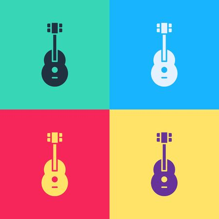 Pop art Guitar icon isolated on color background. Acoustic guitar. String musical instrument.  Vector Illustration  イラスト・ベクター素材