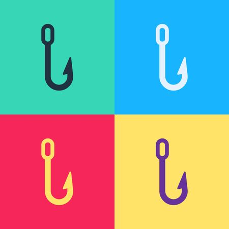 Pop art Fishing hook icon isolated on color background. Fishing tackle.  Vector Illustration
