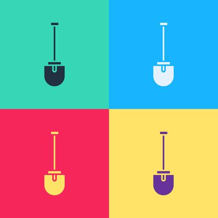 Pop art Shovel icon isolated on color background. Gardening tool. Tool for horticulture, agriculture, farming.  Vector Illustration