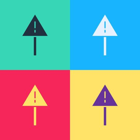 Pop art Exclamation mark in triangle icon isolated on color background. Hazard warning sign, careful, attention, danger warning sign.  Vector Illustration