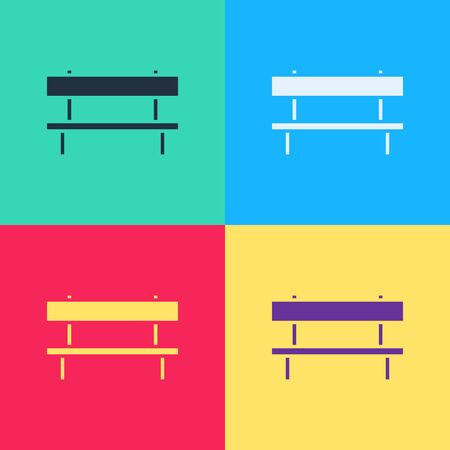 Pop art Bench icon isolated on color background.  Vector Illustration
