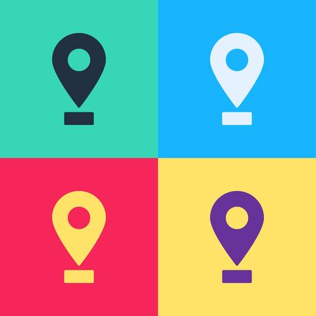 Pop art Map pin icon isolated on color background. Navigation, pointer, location, map, gps, direction, place, compass, search concept.  Vector Illustration
