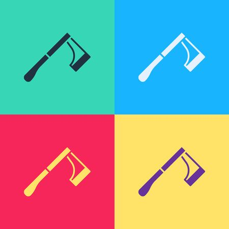 Pop art Wooden axe icon isolated on color background. Lumberjack axe.  Vector Illustration