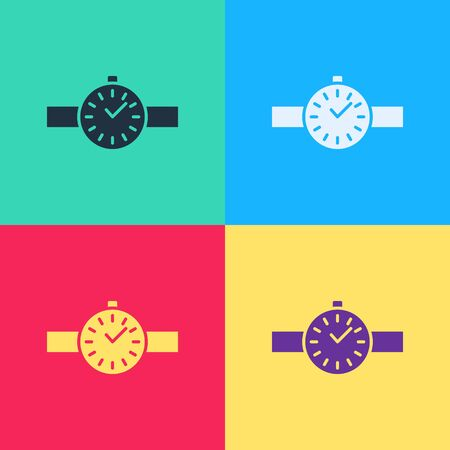 Pop art Wrist watch icon isolated on color background. Wristwatch icon.  Vector Illustration  イラスト・ベクター素材