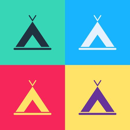 Pop art Tourist tent icon isolated on color background. Camping symbol.  Vector Illustration