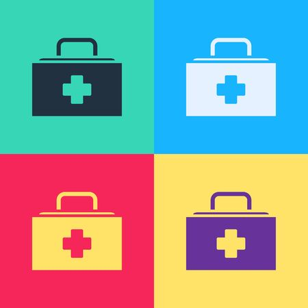 Pop art First aid kit icon isolated on color background. Medical box with cross. Medical equipment for emergency. Healthcare concept.  Vector Illustration  イラスト・ベクター素材