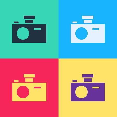 Pop art Photo camera icon isolated on color background. Foto camera icon.  Vector Illustration