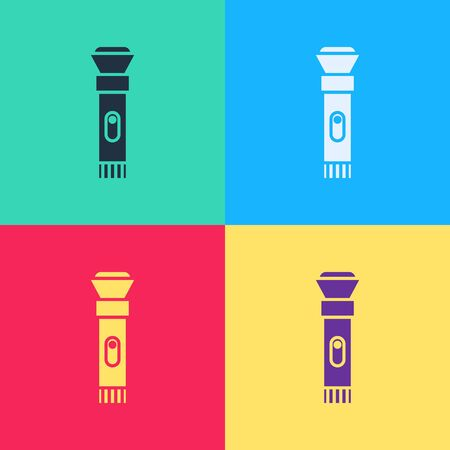 Pop art Flashlight icon isolated on color background.  Vector Illustration