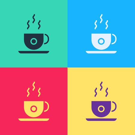 Pop art Coffee cup icon isolated on color background. Tea cup. Hot drink coffee.  Vector Illustration  イラスト・ベクター素材