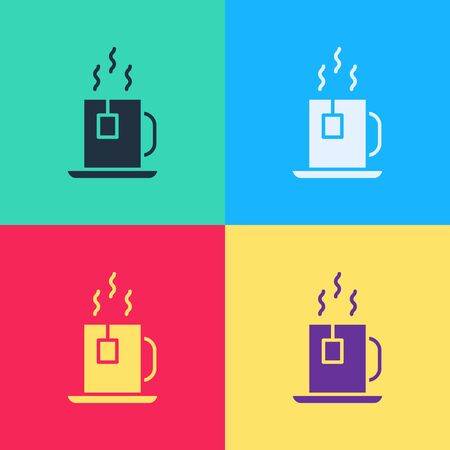 Pop art Cup of tea with tea bag icon isolated on color background.  Vector Illustration