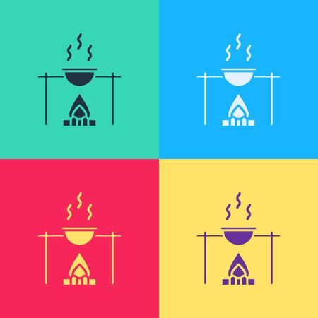 Pop art Campfire and pot icon isolated on color background. Fire camping cooking in cauldron on firewood and flame.  Vector Illustration