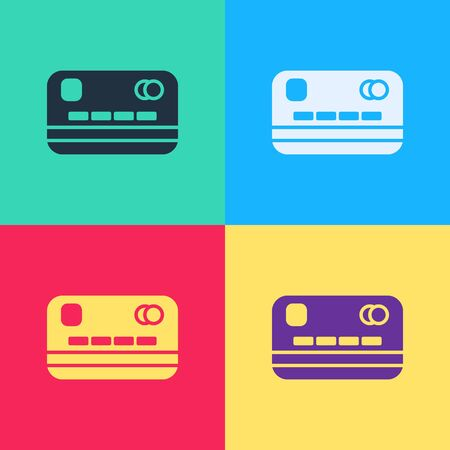 Pop art Credit card icon isolated on color background. Online payment. Cash withdrawal. Financial operations. Shopping sign.  Vector Illustration Ilustração