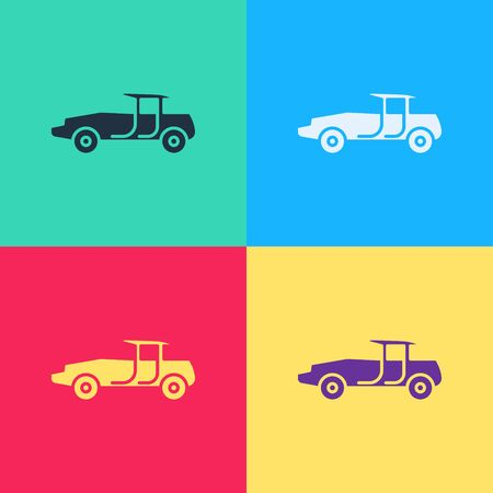 Pop art Car icon isolated on color background.  Vector Illustration  イラスト・ベクター素材