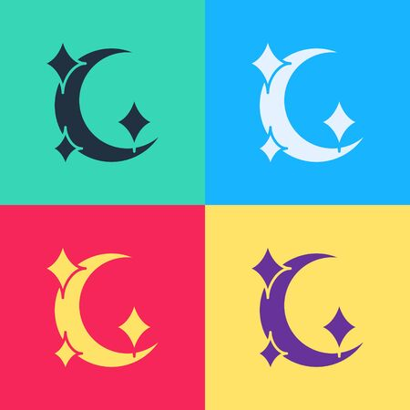 Pop art Moon and stars icon isolated on color background. Vector Illustration 向量圖像