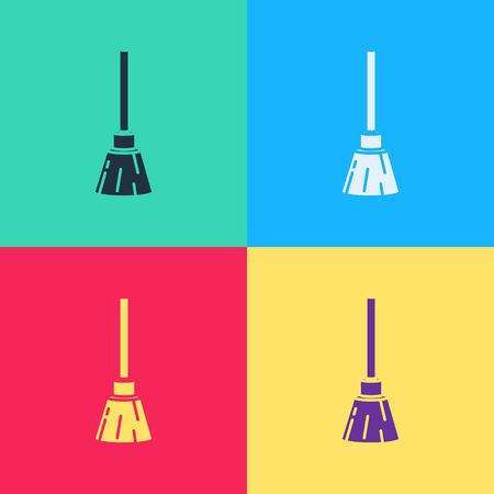 Pop art Witches broom icon isolated on color background. Happy Halloween party.  Vector Illustration