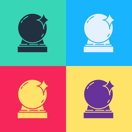 Pop art Magic ball icon isolated on color background. Crystal ball.  Vector Illustration Ilustrace