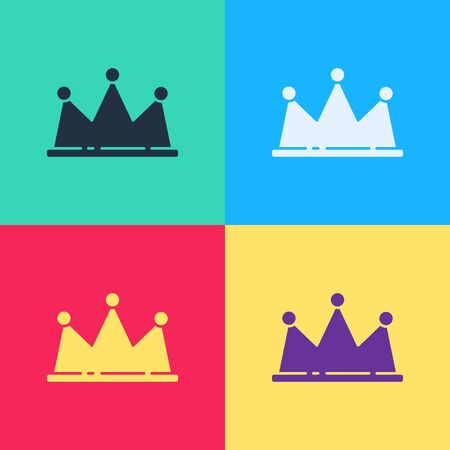 Pop art Crown icon isolated on color background.  Vector Illustration