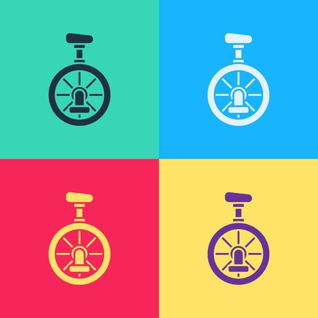 Pop art Unicycle or one wheel bicycle icon isolated on color background. Monowheel bicycle.  Vector Illustration