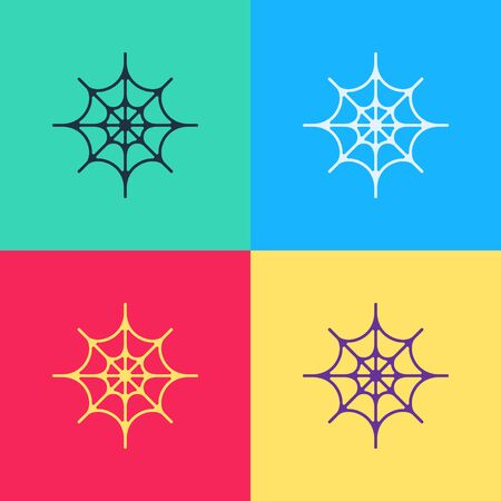 Pop art Spider web icon isolated on color background. Cobweb sign. Happy Halloween party.  Vector Illustration