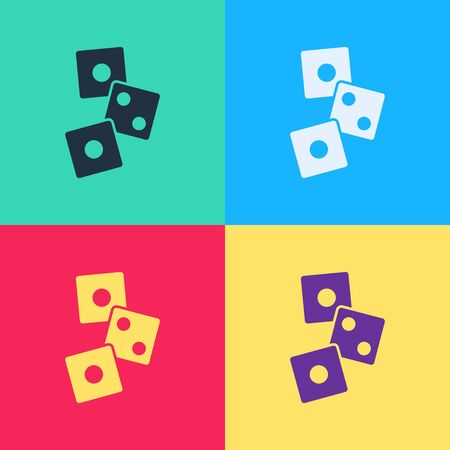 Pop art Game dice icon isolated on color background. Casino gambling.  Vector Illustration