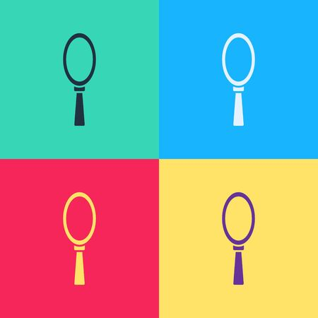 Pop art Magic hand mirror icon isolated on color background.  Vector Illustration Vettoriali