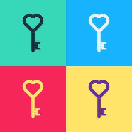 Pop art Key in heart shape icon isolated on color background. 8 March. International Happy Women Day.  Vector Illustration 向量圖像