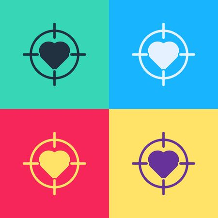Pop art Heart in the center of darts target aim icon isolated on color background. International Happy Women Day.  Vector Illustration 向量圖像