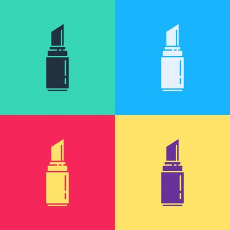Pop art Lipstick icon isolated on color background. 8 March. International Happy Women Day.  Vector Illustration