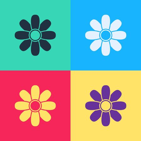 Pop art Flower icon isolated on color background. 8 March. International Happy Women Day.  Vector Illustration 向量圖像