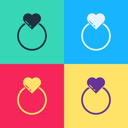 Pop art Wedding rings icon isolated on color background. Bride and groom jewelry sign. Marriage symbol. Diamond ring.  Vector Illustration