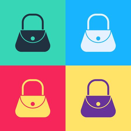 Pop art Handbag icon isolated on color background. Female handbag sign. Glamour casual baggage symbol.  Vector Illustration 向量圖像