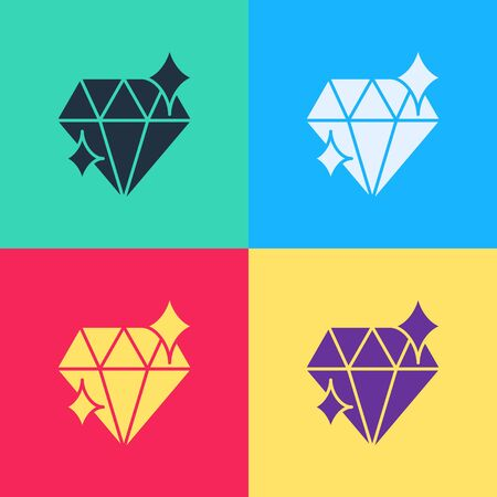 Pop art Diamond icon isolated on color background. Jewelry symbol. Gem stone. 8 March. International Happy Women Day.  Vector Illustration