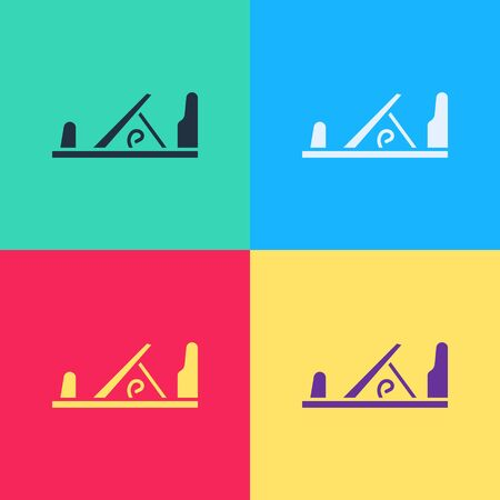 Pop art Wood plane tool for woodworker hand crafted icon isolated on color background. Jointer plane. Vector Illustration