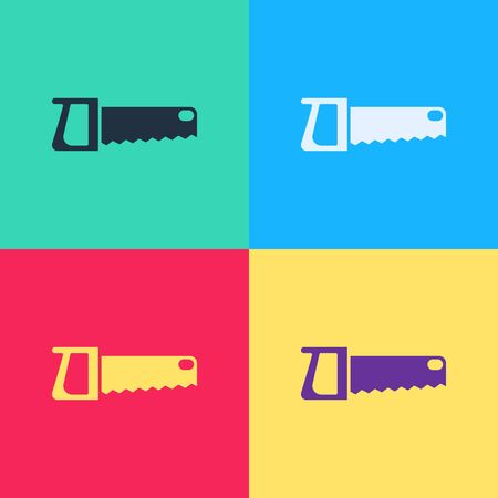 Pop art Hand saw icon isolated on color background.  Vector Illustration