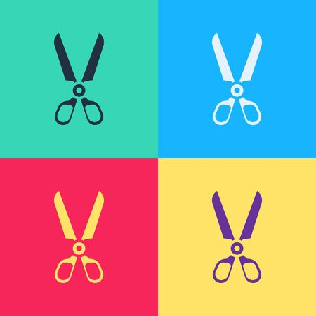Pop art Scissors icon isolated on color background. Cutting tool sign.  Vector Illustration  イラスト・ベクター素材
