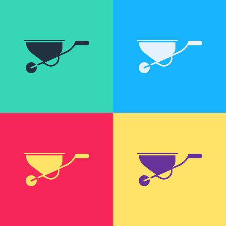 Pop art Wheelbarrow icon isolated on color background. Tool equipment. Agriculture cart wheel farm.  Vector Illustration  イラスト・ベクター素材