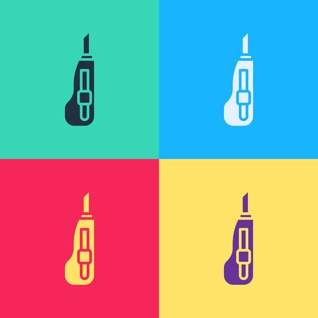 Pop art Stationery knife icon isolated on color background. Office paper cutter.  Vector Illustration