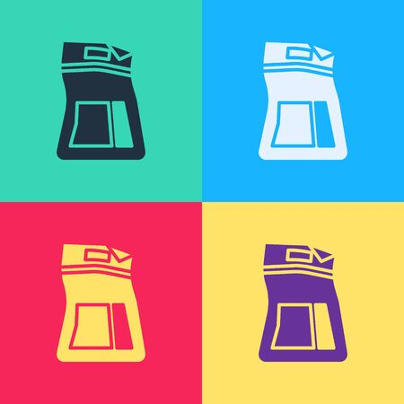 Pop art Cement bag icon isolated on color background.  Vector Illustration